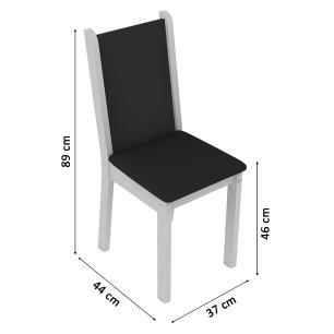 Kit 6 Cadeiras 4291 Madesa - Branco/Preto/Sintético Preto