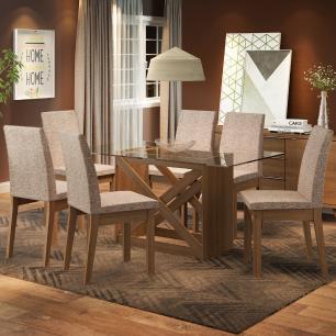 Conjunto Sala de Jantar Madesa Bianca Mesa Tampo de Vidro com 6 Cadeiras