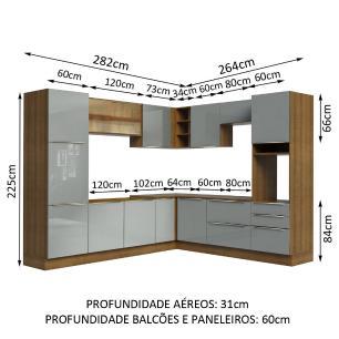 Cozinha Completa Madesa Lux de Canto com Armário e Balcão - Rustic/Cinza