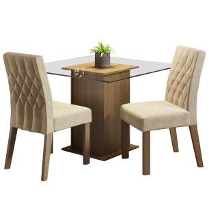 Conjunto Sala de Jantar Madesa Tati Mesa Tampo de Vidro com 2 Cadeiras