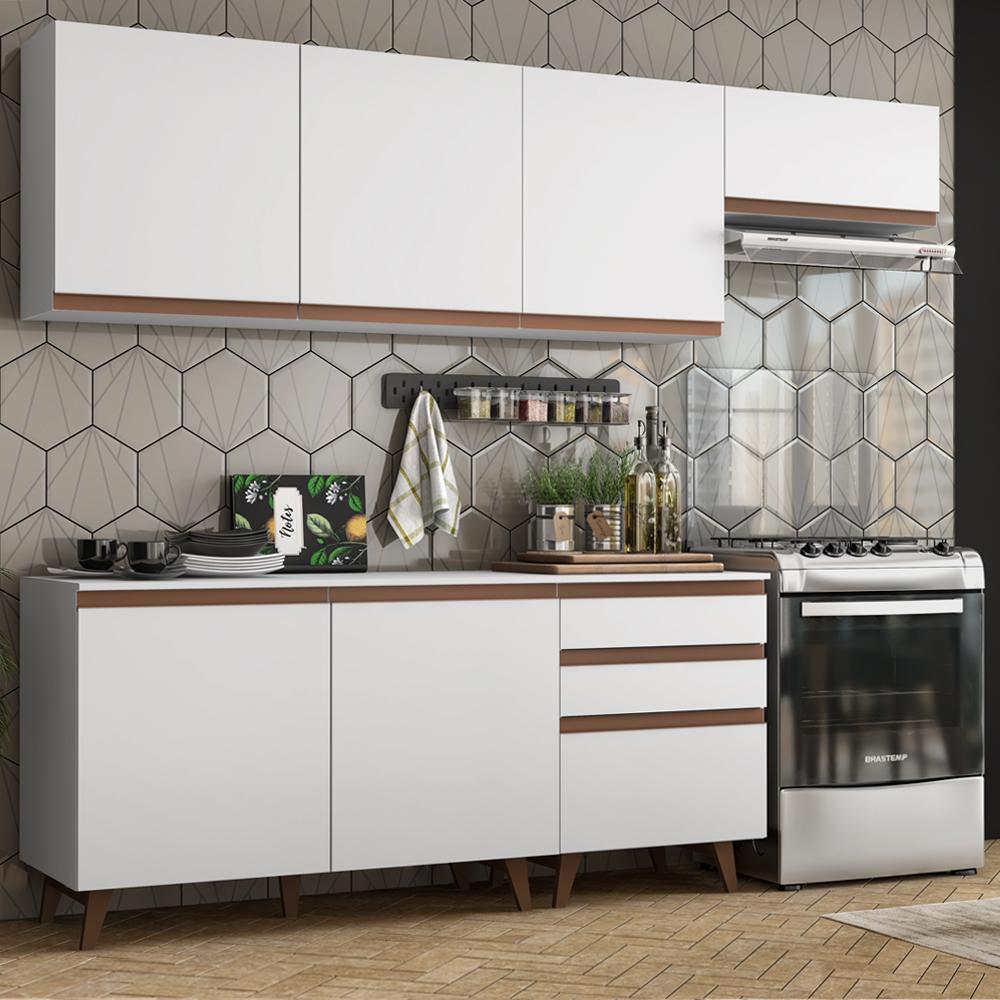 Cozinha Completa Madesa Reims 250002 com Armário e Balcão - Branco