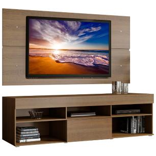 Rack com Painel para TV até 65 Polegadas Madesa Miami 1 Porta - Rustic