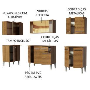 Cozinha Completa de Canto Madesa Emilly Play com Balcão e Armário Vidro Reflex
