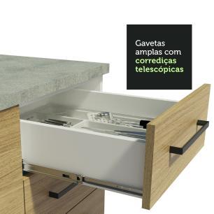 Balcão Madesa Agata 40 cm 3 Gavetas - Branco/Carvalho