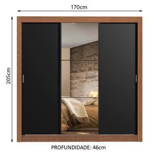 Guarda Roupa Casal Madesa Lyon 3 Portas de Correr com Espelho 2 Gavetas - Rustic/Preto