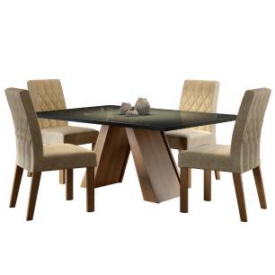 Conjunto Sala de Jantar Madesa Erica Mesa Tampo de Vidro com 4 Cadeiras