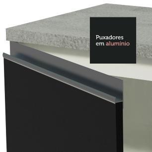 Cozinha Completa Madesa Safira com Armário e Balcão (Sem Tampo e Pia) - Branco/Preto