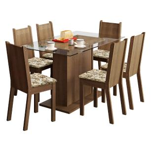 Conjunto Sala de Jantar Madesa Gales Mesa Tampo de Vidro com 6 Cadeiras - Rustic/Lírio Bege