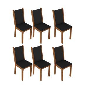 Kit 6 Cadeiras de Jantar 4291 Madesa Rustic/Preto