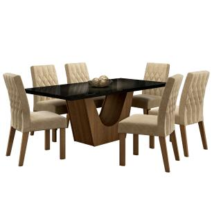 Conjunto Sala de Jantar Madesa Jaqueline Mesa Tampo de Vidro com 6 Cadeiras