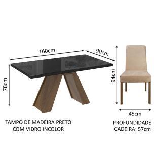 Conjunto Sala de Jantar Madesa Mirela Mesa Tampo de Vidro com 6 Cadeiras - Rustic/Preto/Imperial