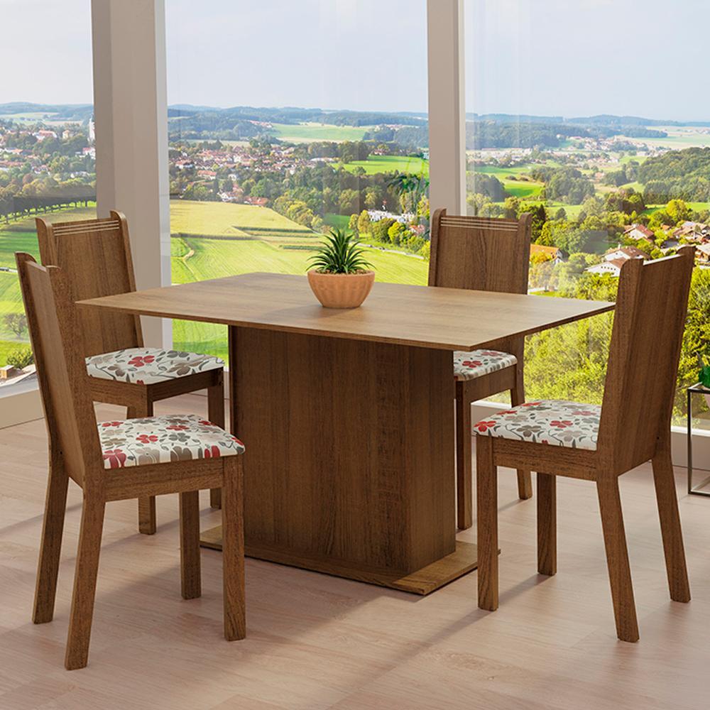 Conjunto Sala de Jantar Madesa Luana Mesa Tampo de Madeira com 4 Cadeiras - Rustic/Floral Hibiscos