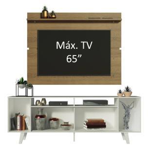 Rack Madesa Cancun com Pés e Painel para TV até 65 Polegadas - Branco/Rustic 096E