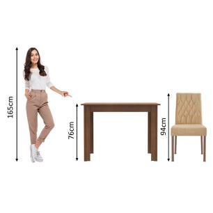 Conjunto Sala de Jantar Madesa Vivi Mesa Tampo de Madeira com 2 Cadeiras