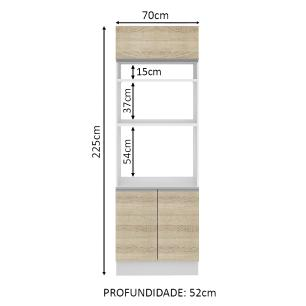 Torre Quente Madesa Glamy 70 cm 3 Portas - Branco/Saara