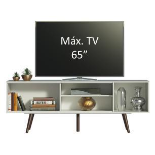 Rack Madesa Cairo para TV até 65 Polegadas com Pés de Madeira - Branco/Rustic/Rustic