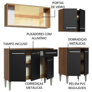 Cozinha Completa Madesa Emilly Drive com Balcão e Armário Aéreo Reflex - Rustic/Preto