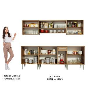 Cozinha Completa Madesa Emilly Smile com Balcão e Armário Vidro Reflex - Rustic