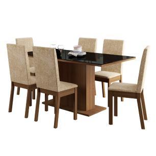 Conjunto Sala de Jantar Romênia Madesa Mesa Tampo de Vidro com 6 Cadeiras