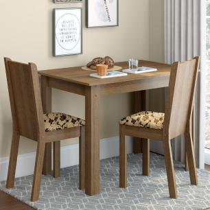 Conjunto Sala de Jantar Madesa Bel Mesa Tampo de Madeira com 2 Cadeiras
