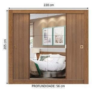 Guarda-Roupa Casal Madesa City 4 Portas de Correr com Espelho