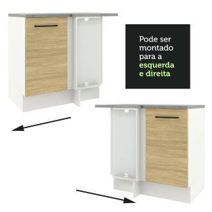 Balcão de Canto Madesa Agata 1 Porta - Branco/Carvalho