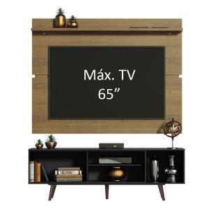 Rack Madesa Dubai e Painel para TV até 65 Polegadas com Pés - Preto/Rustic 8N5Z