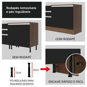 Balcão de Pia Madesa Glamy 2 Portas e 3 Gavetas - Rustic/Preto