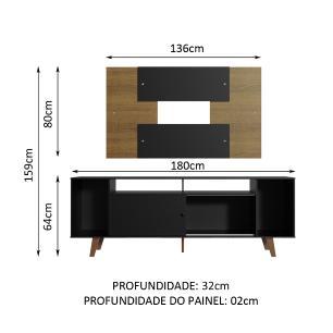 Rack Madesa Cancun e Painel para TV até 58 Polegadas com Pés - Preto/Rustic 8NC1