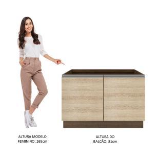 Balcão Gabinete de Pia Madesa Glamy 2 Portas - Rustic/Saara