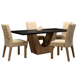 Conjunto Sala de Jantar Madesa Raissa Mesa Tampo de Madeira com 6 Cadeiras