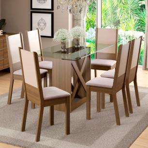 Conjunto Sala de Jantar Madesa Luzia Mesa Tampo de Vidro com 6 Cadeiras