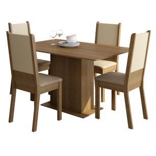 Conjunto Sala de Jantar Madesa Rita Mesa Tampo de Madeira com 4 Cadeiras
