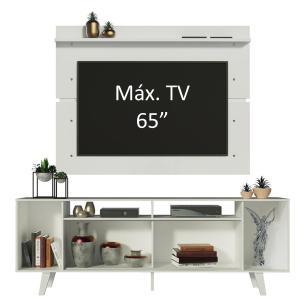 Rack Madesa Cancun com Pés e Painel para TV até 65 Polegadas - Branco/Preto 7309