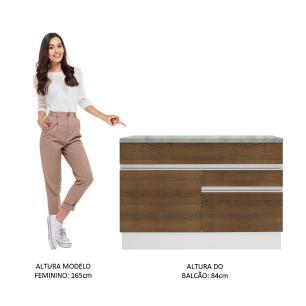 Balcão de Pia Madesa Glamy 120 cm 1 Porta e 2 Gavetas (Com Tampo) - Branco/Rustic