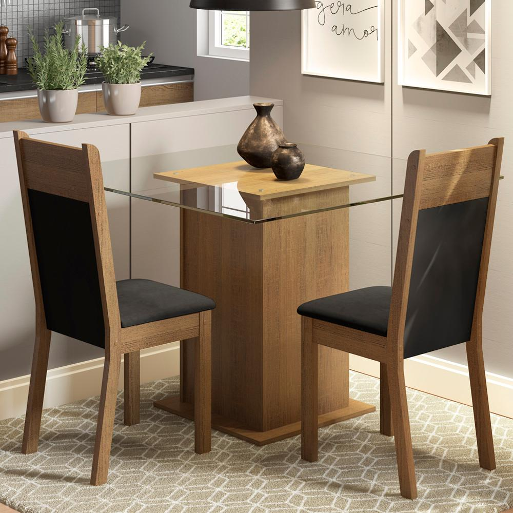Conjunto Sala de Jantar Madesa Lau Mesa Tampo de Vidro com 2 Cadeiras