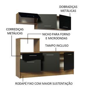 Cozinha Compacta Madesa Onix 180001 com Armário e Balcão - Rustic/Preto
