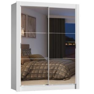 Guarda-Roupa Solteiro Madesa Dallas Plus 2 Portas de Correr de Espelho 4 Gavetas