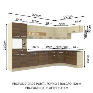 Cozinha Completa de Canto Oblíquo Madesa Rubi 488 com Armário e Balcão