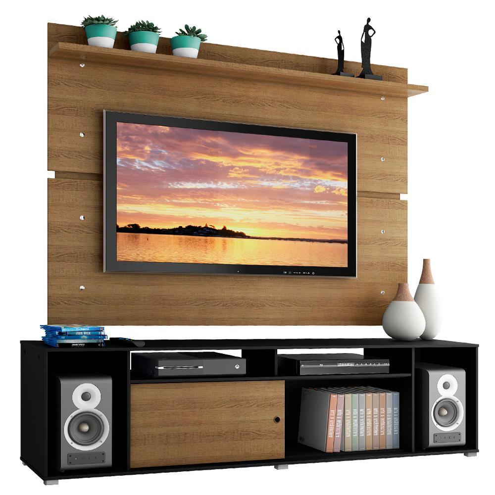 Rack Madesa Cancun e Painel para TV até 65 Polegadas - Preto/Rustic/Rustic