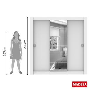 Guarda-Roupa Madesa Campos 3 Portas de Correr Com Espelho