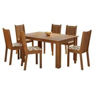 Conjunto Sala de Jantar Madesa Analu Mesa Tampo de Madeira com 6 Cadeiras