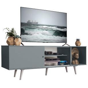 Rack Madesa Dubai para TV até 65 Polegadas com Pés - Cinza/Branco 3Z09