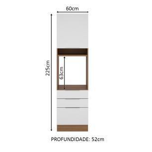 Torre Quente Madesa Stella 60 cm 1 Porta 3 Gavetas - Rustic/Branco