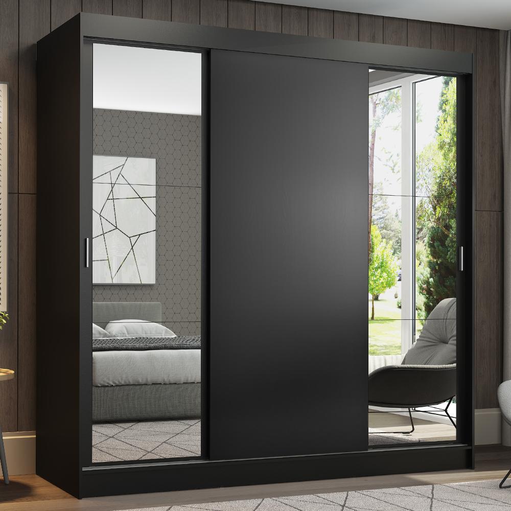 Guarda-Roupa Casal Madesa Reno 3 Portas de Correr com Espelhos