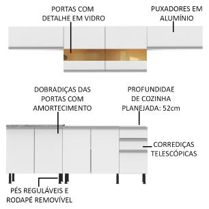 Cozinha Completa Madesa Mariana Com Armário e Balcão (Sem Tampo e Pia) - Branco