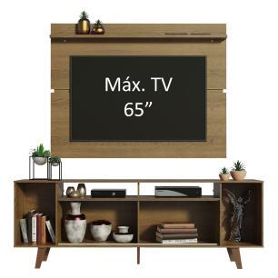Rack Madesa Cancun com Pés e Painel para TV até 65 Polegadas - Rustic