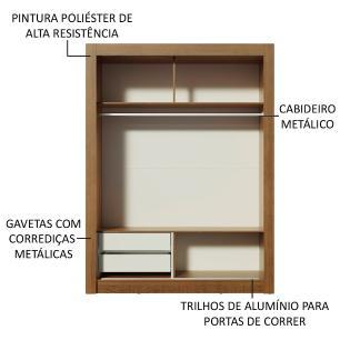 Guarda-Roupa Solteiro Madesa Dallas 2 Portas de Correr com Espelho 2 Gavetas - Rustic/Carvalho