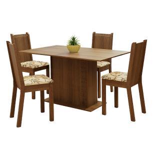 Conjunto Sala de Jantar Madesa Luana Mesa Tampo de Madeira com 4 Cadeiras - Rustic/Lírio Bege