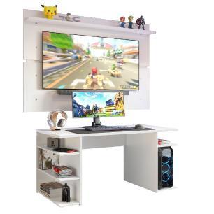 Mesa Gamer Madesa 9409 e Painel para TV até 65 Polegadas - Branco